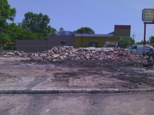 commercial demolition of a gas station in Ferguson, MO